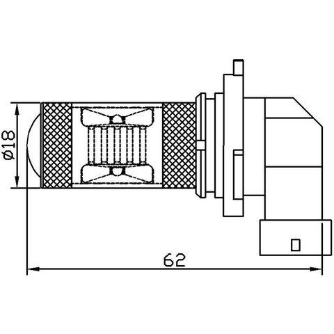 Противотуманная LED лампа UP-7G-9006WB(HB4)-30W (белая, 12-24 В) Превью 1